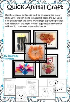 Quick ANIMAL craft for the classroom.   Includes:  jellyfish lion (available for free in our shop) peacock sheep owl