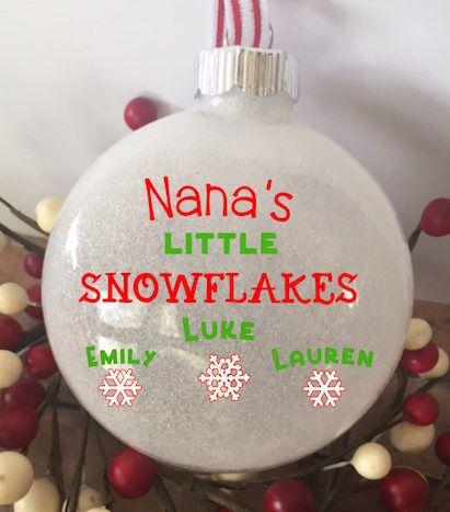 Little Snowflakes Personalized Grandkids Glitter Ornament, Christmas Glitter Ornament, Grandkids Custom Ornament, Custom Gift for Grandma – kat carle