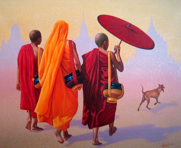 Monks in Bagan by Aung Kyaw Htet -  acrylic on canvas