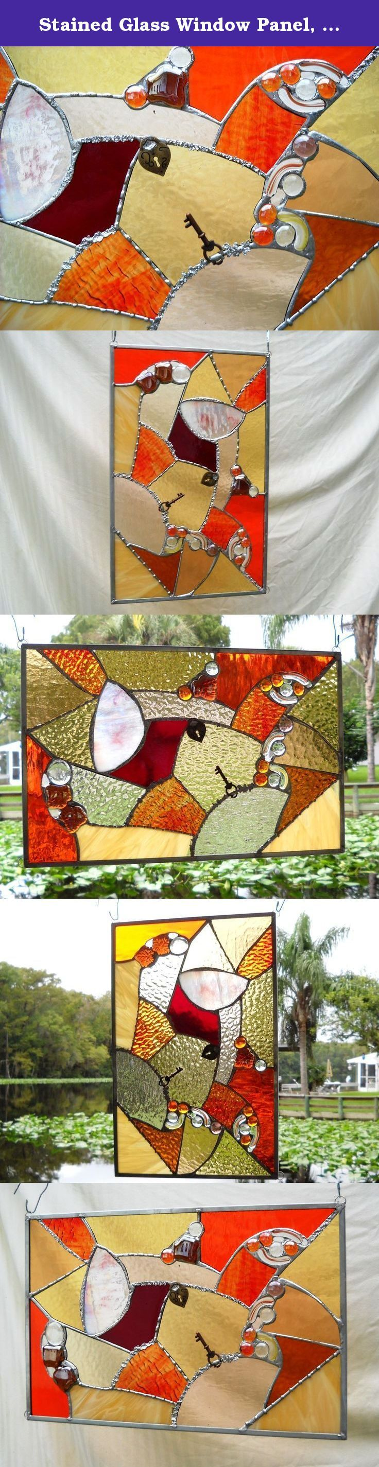 Stained Glass Window Panel, Glass Crazy Quilt, Patchwork Quilt, Suncatcher Mixed Media, One of a Kind Stained Glass Window Transom, OOAK. For the love of quilting -- and glass -- enjoy this stained glass panel in mixed media, complete with recycled and found items! Celebrate the colors of the sun with this stained glass crazy quilt. Replace your fabric curtains or valance, and watch the sun play with the textures and colors of the stained glass as it moves throughout the day. Every minute…