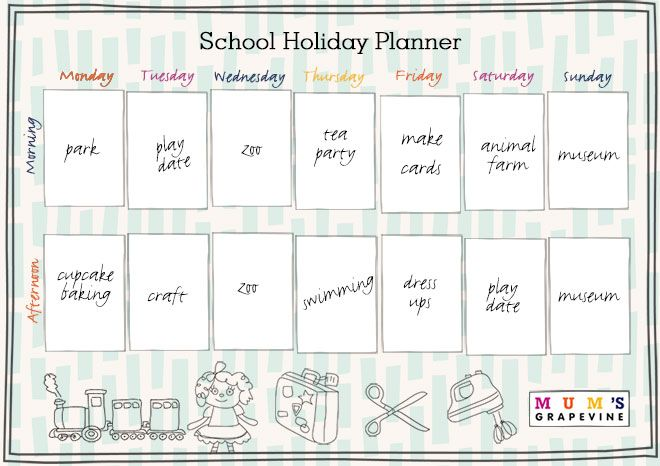 Lock in those play dates, outings and adventures with our free School Holiday Planner - featuring 50 activity ideas for things to do during the holidays.