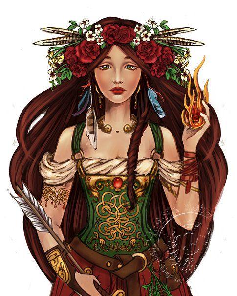 Brigid é a deusa de todas as coisas percebidas como sendo de elevadas dimensões, tais como chamas altas, montanhas, colinas e de atividades e estados concebidos como psicologicamente elevados tais como sabedoria, excelência, perfeição, inteligência, poesia, artesanato, alta capacidade de cura, conhecimento druídico e habilidade na guerra.
