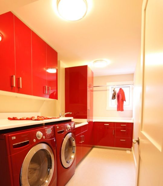 Red laundry room cabinet ideas | Home Interiors