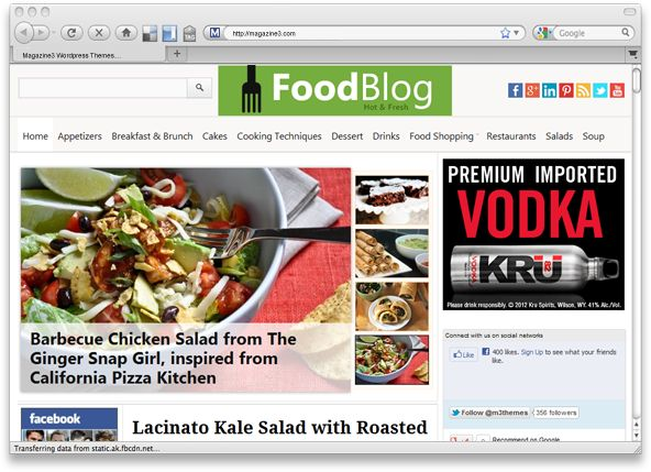 FoodBlog is premium WordPress magazine theme for Food Bloggers & food websites. Every element of this theme is well crafted and makes your site look professional website