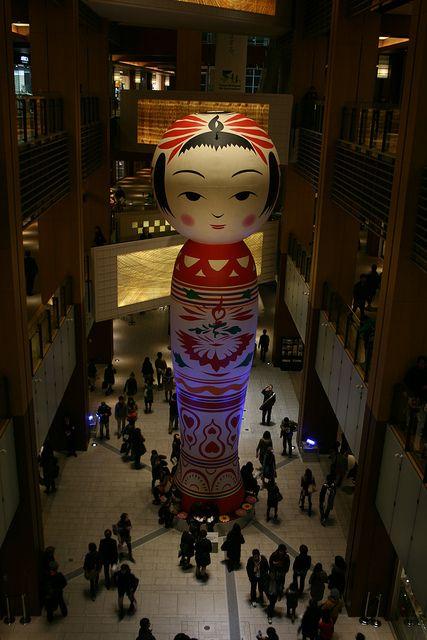 Huge Japanese wooden doll -kokeshi- at Roppongi Art Night, Tokyo, Japan