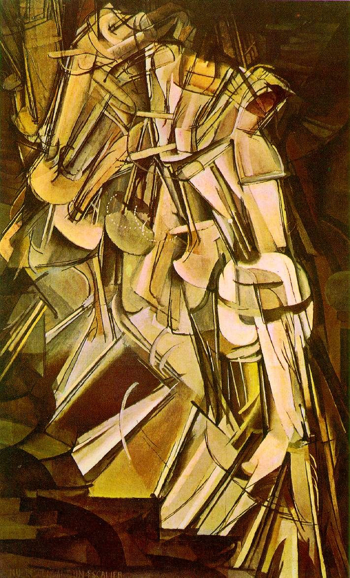 "Conceptual  creation de tridimencionalidad a patir de planos (en este caso es de muchos ""quietos"" se crea temporalidad"")  Marcel Duchamp - Nude Descending Staircase See all those different realizations of a walking person"