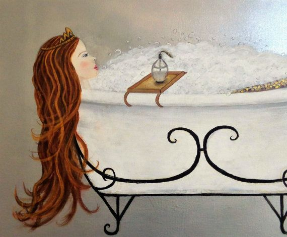 Mermaid Wall Art Acrylic Painting Mermaid Bathroom Art Clawfoot Tub Bubblebath Art Print. This is a fine art print of one of my original paintings. The background is a mottled silver making a striking contrast with the mermaids red hair and rich golden tail. I was inspired by the movie Splash where the girl turns into a mermaid while bathing in the tub. She is relaxing in the white clawfoot tub, filled with bubbles. She is wearing a gold tiara and has a tray with bath oils placed. This is a…