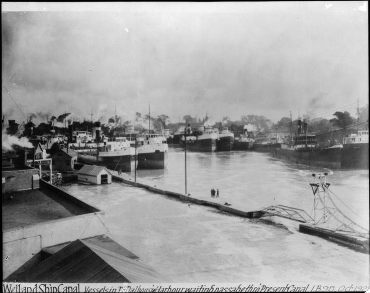 Port Dalhousie, Ontario. Oct. 1928 Vessels waiting for passage through canal Source: LAC