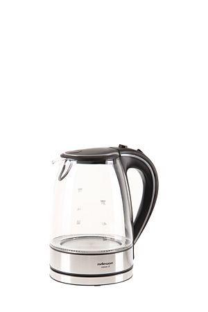 "This Mellerware glass cordless kettle with blue LED lighting ring is a modern take on a jug kettle<div class=""pdpDescContent""><ul><li> 1,7 liter capacity</li><li> Cordless base with auto switch off</li><li> 360 degree rotating base</li><li> Lid opening button</li><li> Concealed heating element</li><li> 2 year guarantee</li></ul></div><div class=""pdpDescContent""></div>"