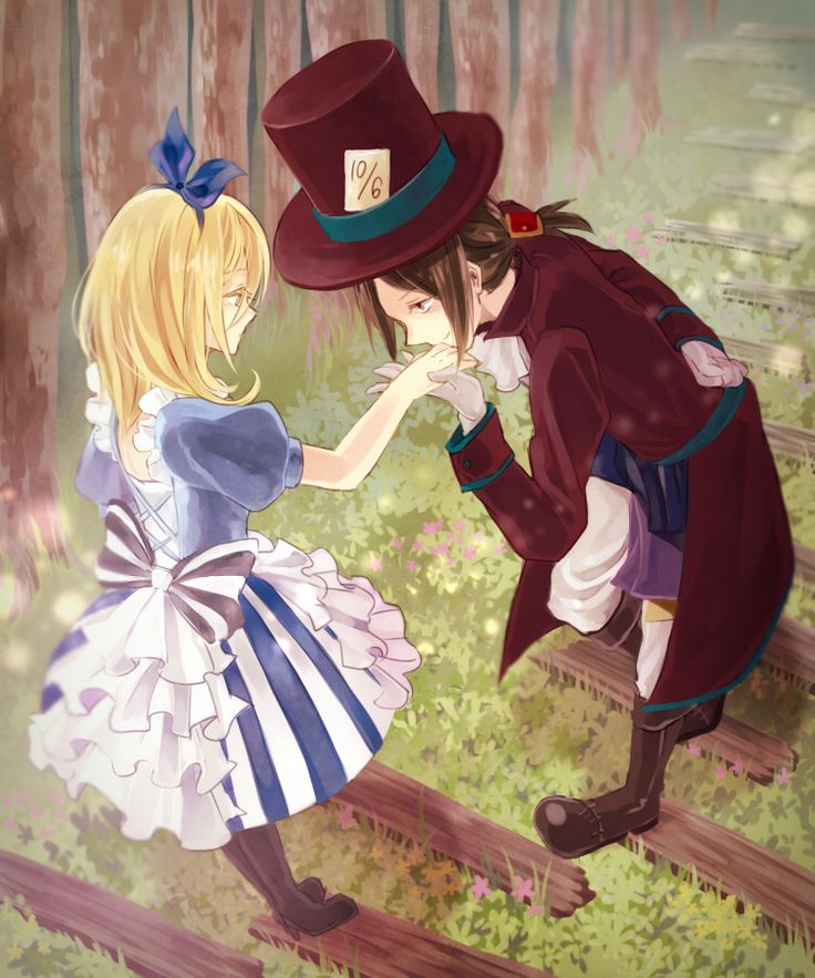 Alice in Wonderland, , anime girl, , blonde hair, , blue eyes, , forest, , mad hatter, , kiss, , hat, , trees
