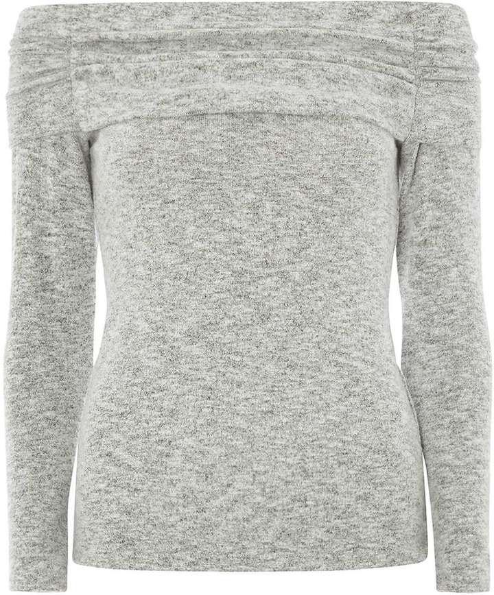 Grey Ruched Bardot Top