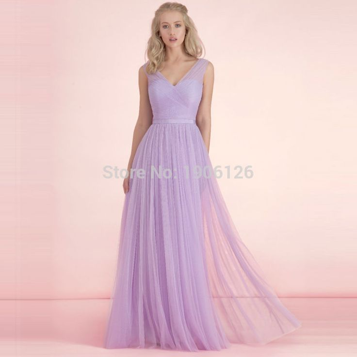 Cheap bruidsmeisjes jurk, Buy Quality bridesmaid dresses 2016 directly from China lavender bridesmaid dresses Suppliers: High Quality Lavender Bridesmaid Dresses 2016 Vintage Long Party Dress Tulle Vestidos para festa V Neck Tank Bruidsmeisjes Jurk