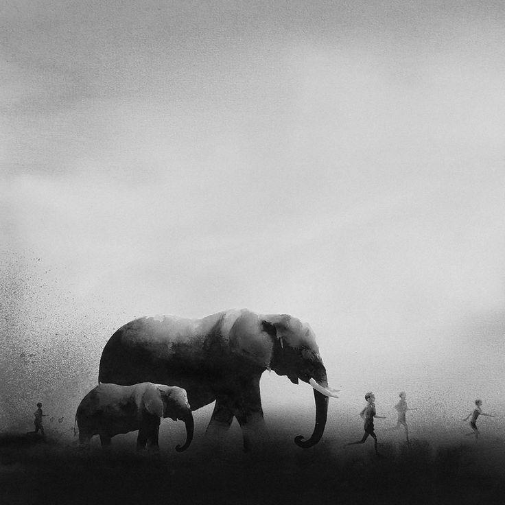 L'artiste indonésienne Elicia Edijanto continue de faire ces aquarelles monochromes dans lesquelles des enfants côtoient des animaux sauvages.