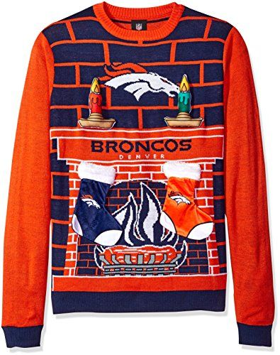 NFL Denver Broncos Ugly 3D Sweater, Large  http://allstarsportsfan.com/product/nfl-denver-broncos-ugly-3d-sweater-large/  100% Acrylic Officially licensed ugly Sweater Features removable/replaceable Velcro Plush stockings and candles