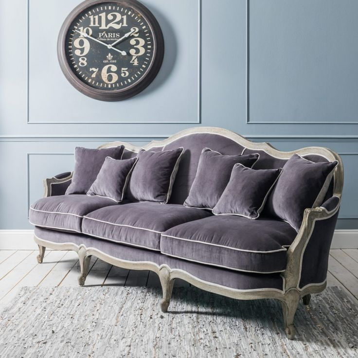 Chateau Grey Velvet 3 Seat Sofa - New For Summer - Furniture - barock mobel versailles sofa