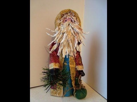 Papier Mache QUAINT SANTA FIGURE, Christmas figure, Father Christmas, St...