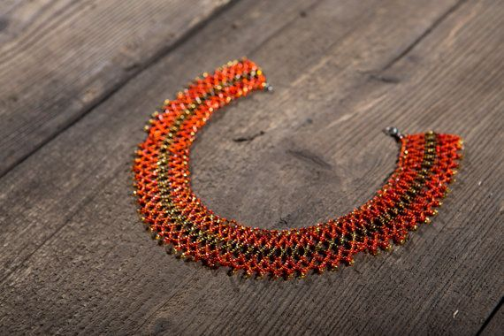 Sunset.   Sunset. Wide necklace. Glass beads,  thread of titanium, silver clasp, snap hook.