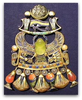 Tutankhamun's pectoral with the Udjat Eye (Eye of Horus) and the scarab ( scarab beetles were a common theme among ancient Egyptians and were prevalent in their jewelry.  They represented resurrection and eternal life), late 18th Dynasty - ca. 1550-1292 BCE