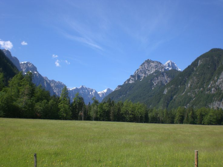The Julian Alps rising up from the Krma and Kot valleys