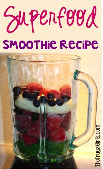 Superfood Smoothie Recipe!  Power pack your morning {or afternoon} with delicious, healthy green smoothies!  I have one for lunch every day, and it's such a great afternoon boost of energy! | TheFrugalGirls.com