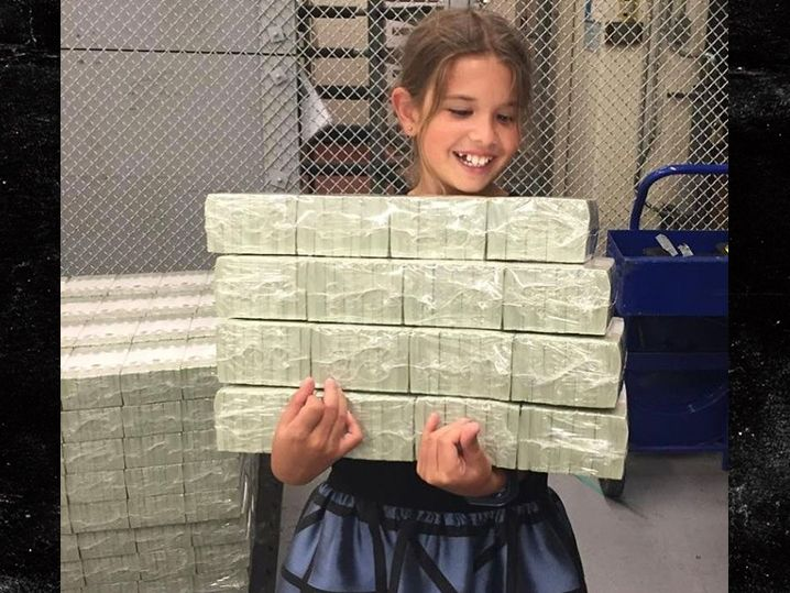 """Donald Jr. posted a pic of 9-year-old daughter Kai holding stacks of money. He captioned it """"Kai is enjoying her tour of the US Treasury in Washington DC a bit too much."""" He also came up with the headline """"Trump Grandchildren caught stealing from Treasury building."""""""