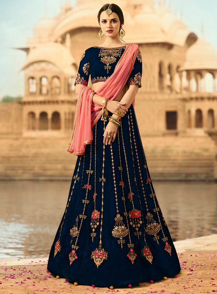 Navy Blue Velvet Embroidery Work A Line Lehenga Choli 117216