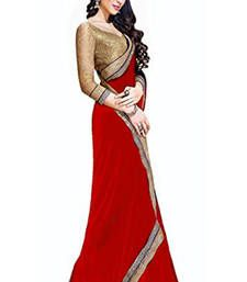 Buy Red Lace Work Georgette saree with blouse party-wear-saree online