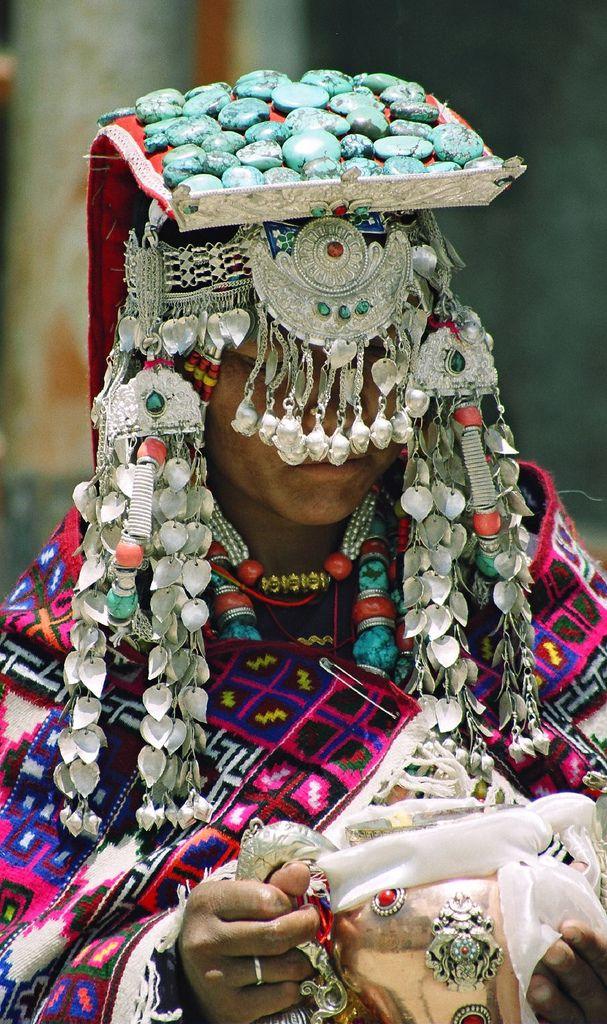 Ladakhi woman dressed as offering goddesses,