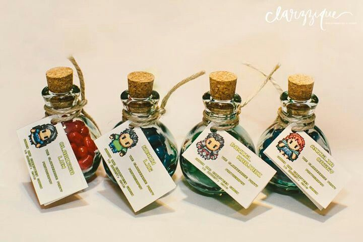 Video game theme potion bottle wedding favour