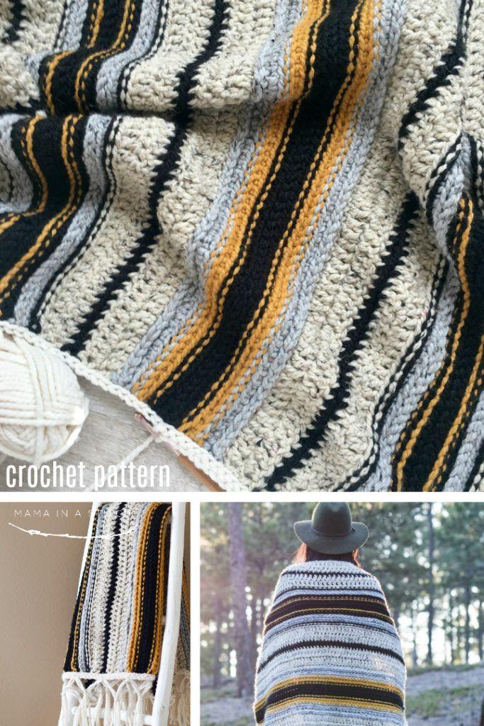Mexikanische Serape Inspiriert Gehakelte Decke Muster Es Ist Eine