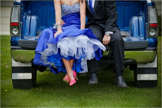 Blue Grad Dress, Pink Shoes, Big Truck (Meg Courtney Photography)