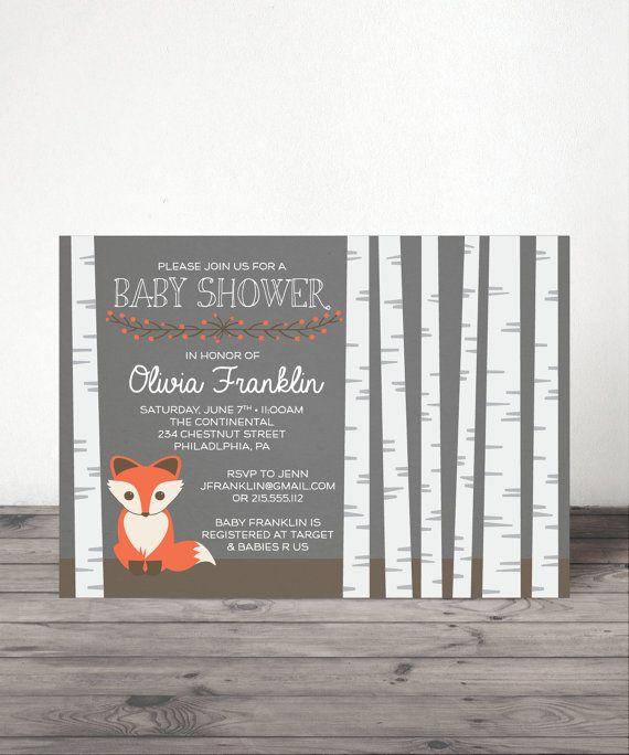 Birch Tree Baby Shower Invite Woodland by CreativeUnionDesign
