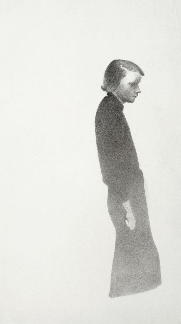© Vlasta Vostřebalová Fischerová - Žena pod lucernou (1935), kresba uhlem, Galerie umění Karlovy Vary