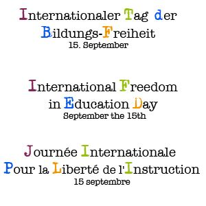 The International Freedom in Education Day  (IFED) takes place every year on September 15th. Activities focus on that day, but other events also happen throughout the month of September in many countries all over the world. The aim of IFED is to promote the importance of free choice concerning the type of education that your family chooses and to spread information about alternative ways of learning that are available or are being fought for in various countries.