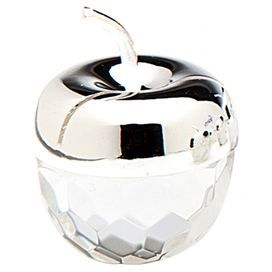 Etched crystal place card holder with an apple silhouette and silver-plated top