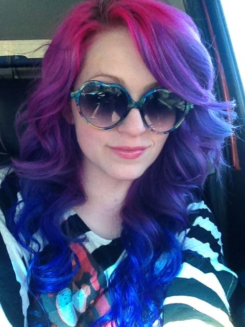 Splat Pink Fetish, Lusty Lavender and Blue Envy. What a great hair color combo! #splat #ombre #pinkhair #purplehair #bluehair #rainbowhair
