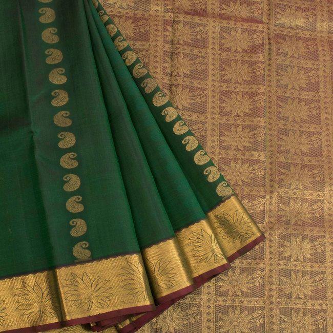 Electronic Jacquard Kanjivaram Pure Silk Saree With Paisley Motifs 10020684 - AVISHYA.COM