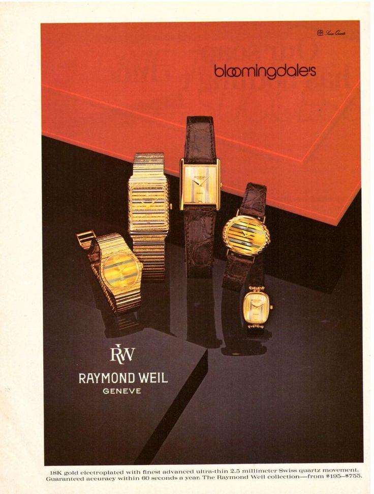 1981 Raymond Weil Watches Bloomingdales Print Ad Vintage Advertisement VTG 80s | eBay