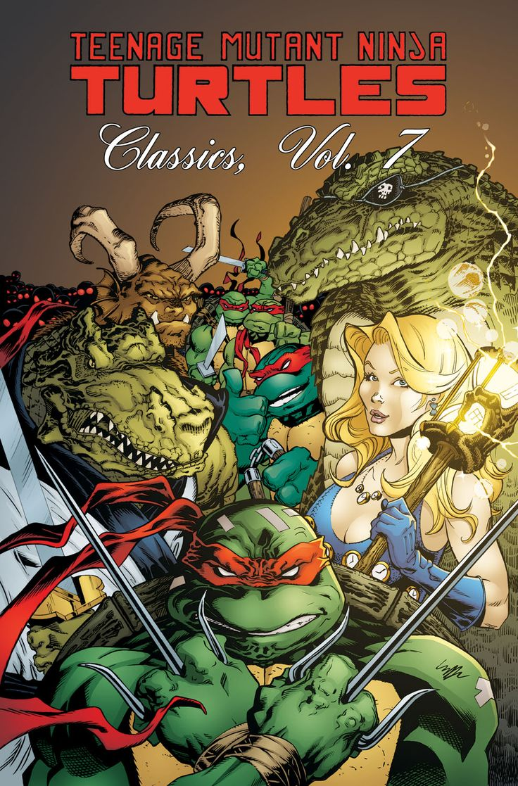 """Teenage Mutant Ninja Turtles Classics, Vol. 7 Dan Berger, Michael Dooney, Eric Talbot, Kevin Eastman, Ryan Brown, Steve Lavigne, Jim Lawson & Peter Laird (w & a) • Dooney (c)  Volume 7 collects issues #45–47, which includes """"Leatherhead, Too,"""" """"Masks"""" parts 1–2, and six short stories from Shell Shock: """"Ghouls Night Out,"""" """"Crazy Man,"""" """"The Survival Game,"""" """"The Howl,"""" """"Technofear,"""" and """"It's A Gas.""""  TPB • FC • $19.99"""