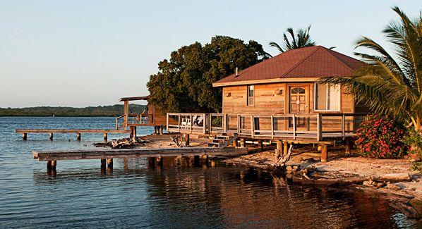 The private bungalows of Laguna Beach Resort, Honduras.