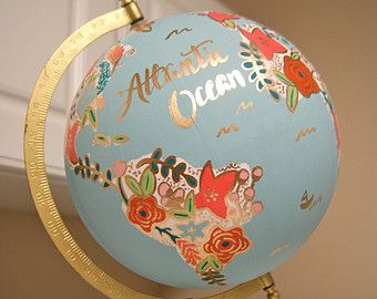 Custom 12 World Globe Hand Painted Flowers by PrettyLittleDoodads