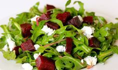 Arugula, Beet, & Goat Cheese Salad. Get the full recipe here: http://cleananddelicious.com/2011/03/24/arugula-beet-and-goat-cheese-salad/