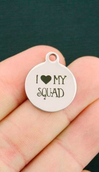 $1 cheerleading charms - Friendship Stainless Steel Charms - I Love My Squad - Bulk discounts!  Cheer coach. Senior gifts. Cheerleader gifts for charm bracelet or necklace. #cheerleading #ad