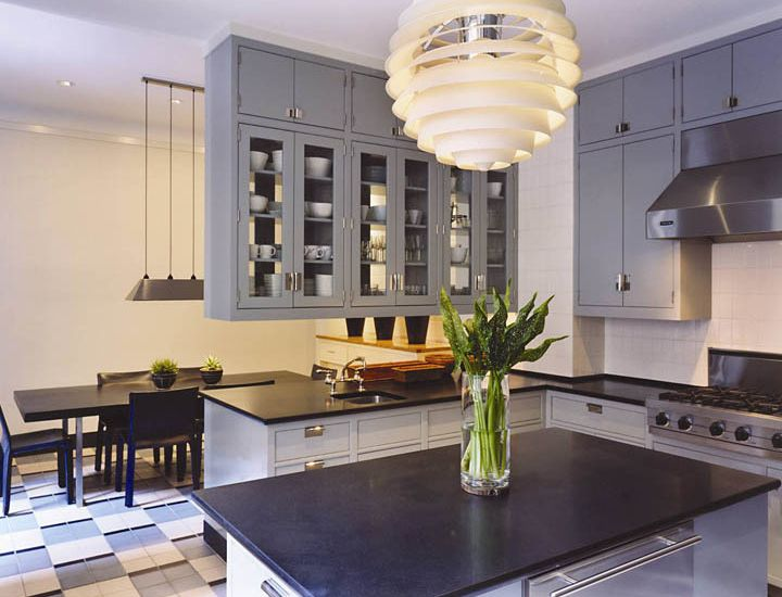 White cabinets with blue countertops blue glass front for Blue gray kitchen cabinets