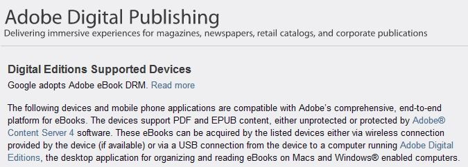 Adobe Digital Editions - supported devices