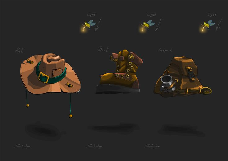 light study on  objects for my character concept