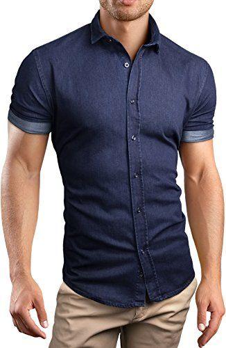 Grin&Bear custom Denim fit kurzarm Hemd Shirt Herrenhemd Jeans, blau, L, SH690