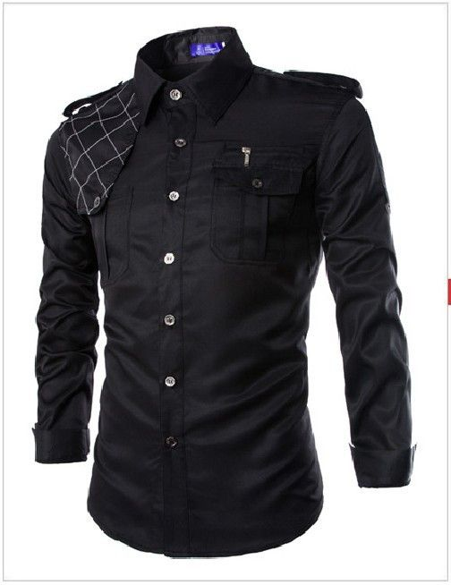 Men Military Style Slim Fit Shirt With Pockets Red, Army Green, Navy Blue, Khaki, Black, Light Blue