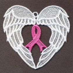 Ace Points Embroidery Design: FSL Pink Ribbon Wings 3.38 inches H x 3.64 inches W