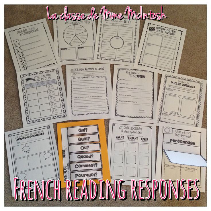 12 activités de compréhension/12 French Reading Response activities